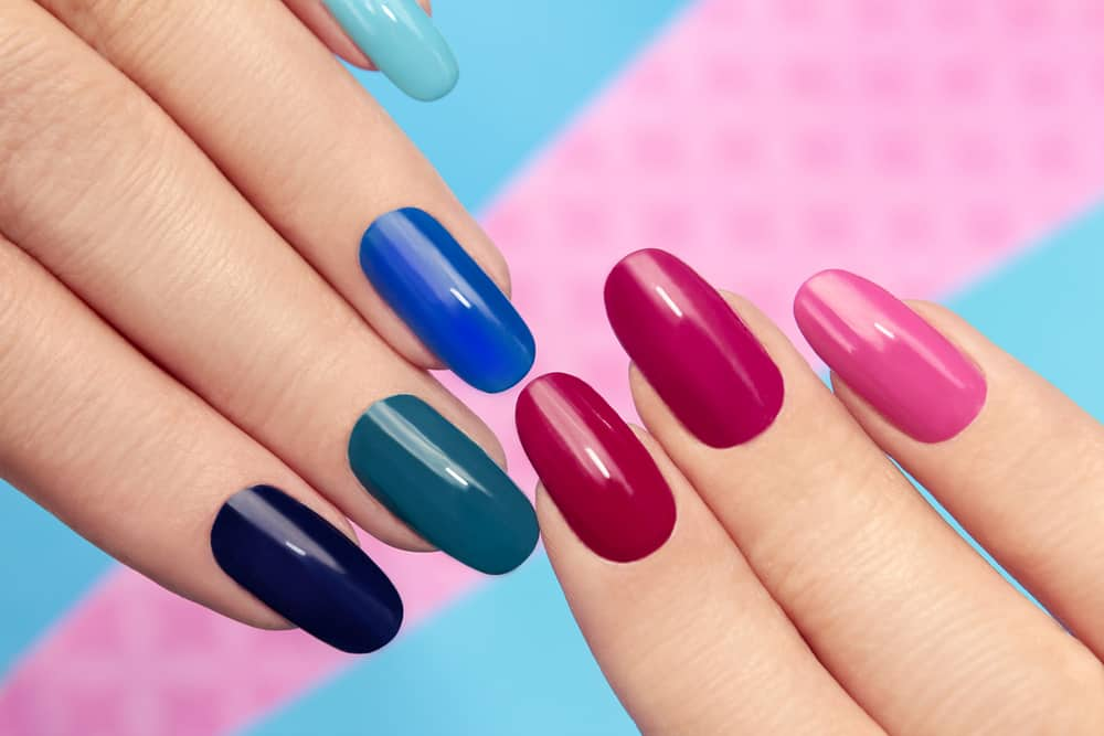 Blue pink manicure