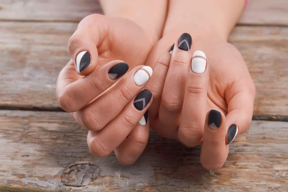 Cute manicure on female hands