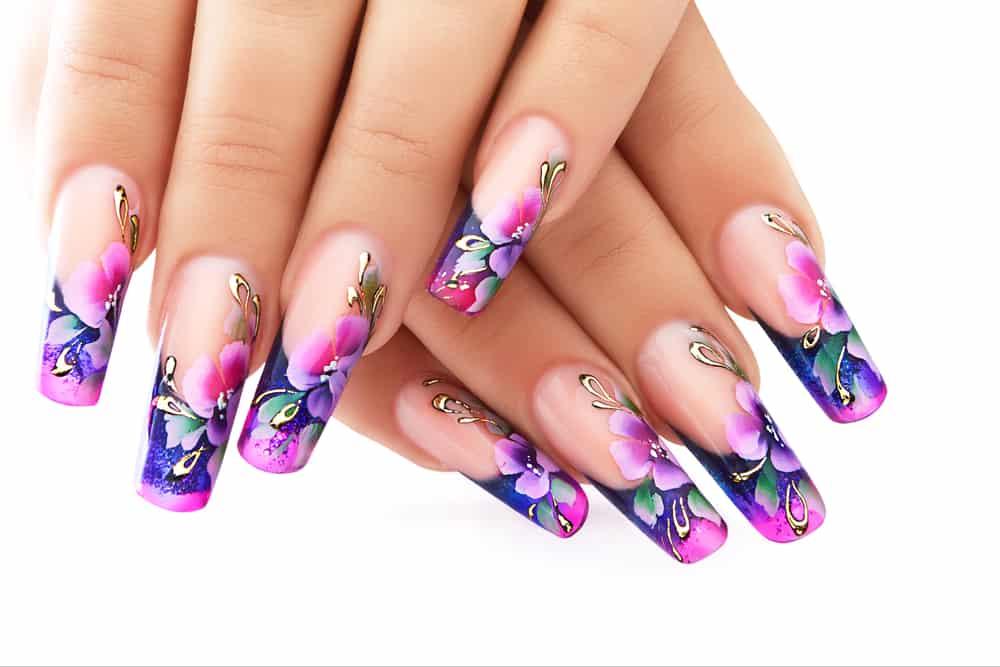 Floral design on nails