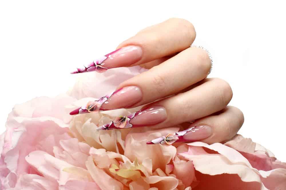 Manicured acrylic nails