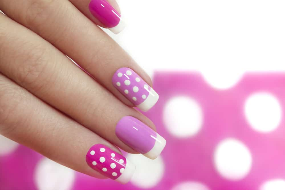 Nail design with white dots