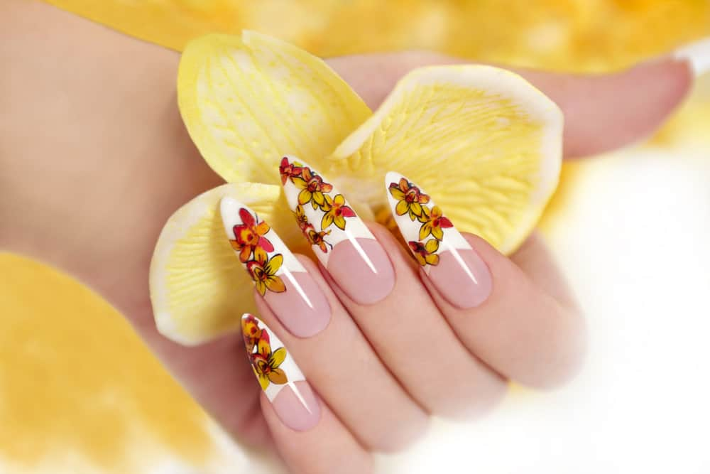 Yellow orchid nails