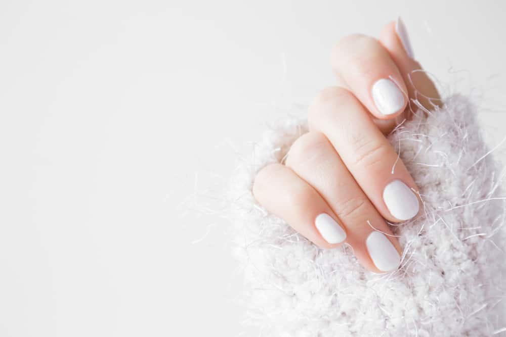 Beautiful groomed woman's hands with white nails on the light gray background