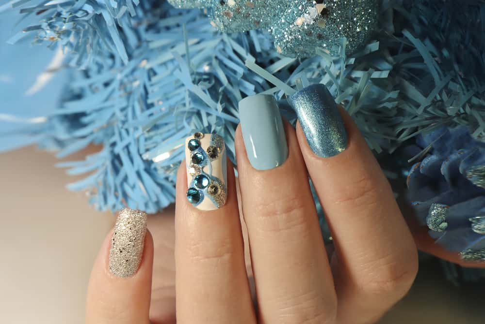 Christmas winter nail design with different colors