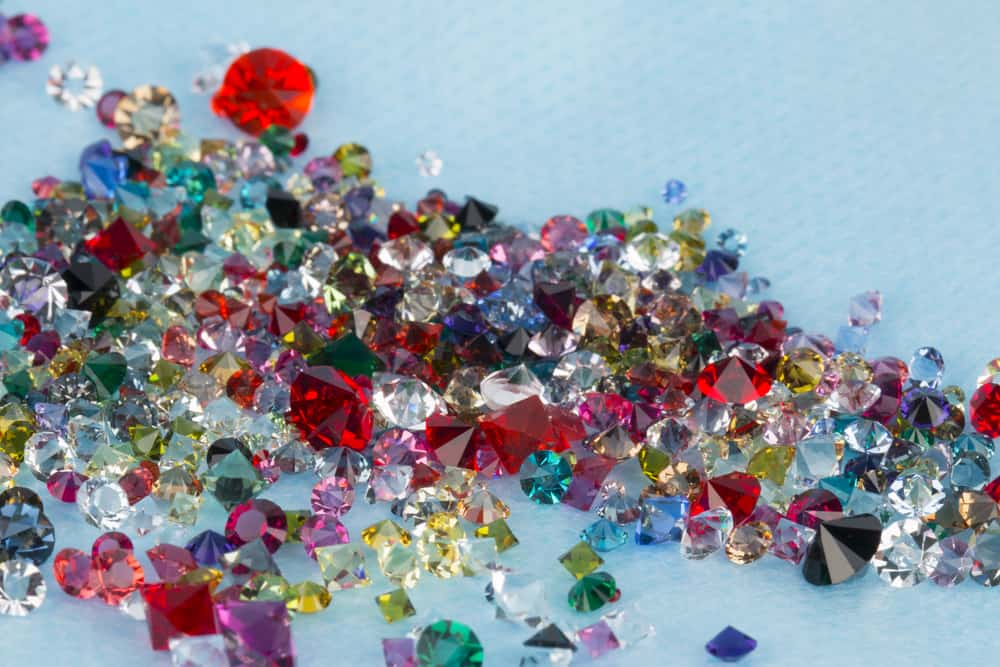 Collection of many different natural gemstones